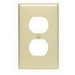 Leviton 80703-NT 1-Gang Standard-Size Duplex Receptacle Wallplate; Device Mount, Thermoplastic Nylon, Light Almond