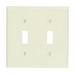 Leviton 78009 2-Gang Standard-Size Toggle Switch Wallplate; Device Mount, Thermoset Plastic, Light Almond