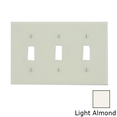 Leviton 78011 3-Gang Standard-Size Toggle Switch Wallplate; Device Mount, Thermoset Plastic, Light Almond