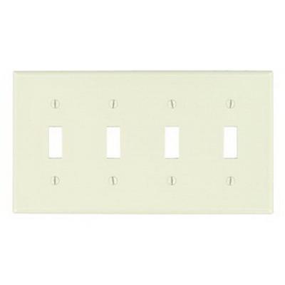 Leviton 78012 4-Gang Standard-Size Toggle Switch Wallplate; Device Mount, Thermoset Plastic, Light Almond