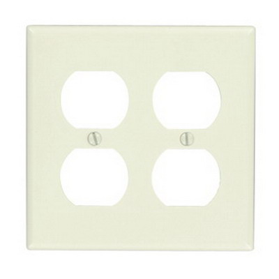 Leviton 78016 2-Gang Standard-Size Duplex Receptacle Wallplate; Device Mount, Thermoset Plastic, Light Almond
