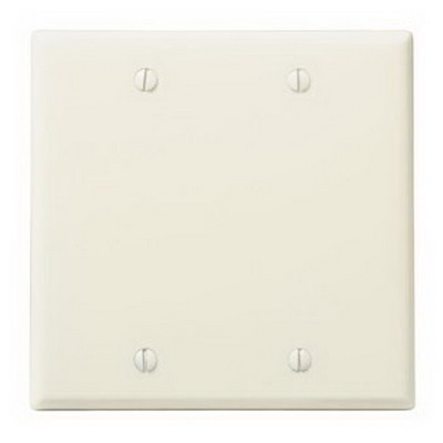 Leviton 78025 2-Gang Standard-Size No Device Blank Wallplate; Box Mount, Thermoset Plastic, Light Almond