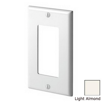 Leviton 80401-T Decora® 1-Gang Standard-Size GFCI Decorator Wallplate; Device Mount, Thermoset Plastic, Light Almond