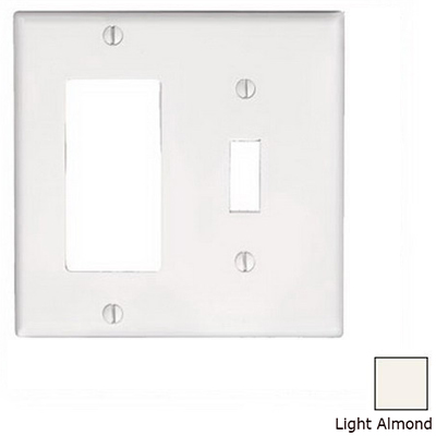 Leviton 80405-T Decora® 2-Gang Standard-Size Combination Wallplate; Device Mount, Thermoset Plastic, Light Almond