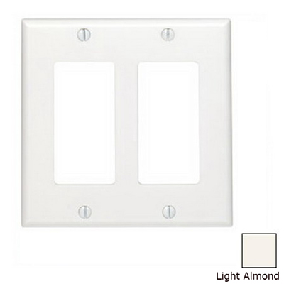 Leviton 80409-T Decora® 2-Gang Standard-Size GFCI Decorator Wallplate; Device Mount, Thermoset Plastic, Light Almond