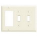 Leviton 80421-T Decora® 3-Gang Standard-Size Combination Wallplate; Device Mount, Thermoset Plastic, Light Almond