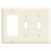 Leviton 80421-T Decora® 3-Gang Standard-Size Combination Wallplate; Device Mount, Thermoset Plastic, Light Almond