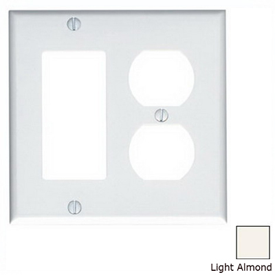 Leviton 80455-T Decora® 2-Gang Standard-Size Combination Wallplate; Device Mount, Thermoset Plastic, Light Almond