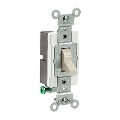 Leviton CS120-2T AC Quiet Toggle Switch; 1-Pole, 120/277 Volt AC, 20 Amp, Light Almond