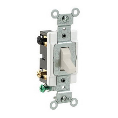 Leviton CS420-2T Specfication Grade AC Quiet 4-Way Toggle Switch; 2-Pole, 120/277 Volt AC, 20 Amp, Light Almond