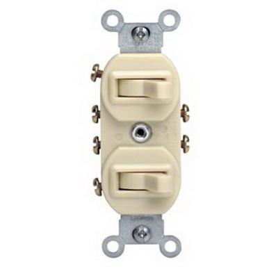 Leviton 5243-T Duplex Style AC 3-Way Combination Switch; 1-Pole, 120/277 Volt AC, 15 Amp, Light Almond