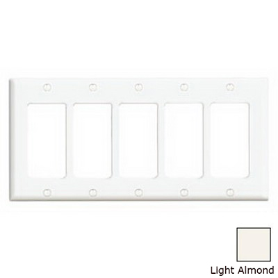 Leviton 80423-T Decora® 5-Gang Standard-Size GFCI Decorator Wallplate; Device Mount, Thermoset Plastic, Light Almond