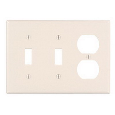 Leviton 78021 3-Gang Standard-Size Combination Wallplate; Device Mount, Thermoset Plastic, Light Almond