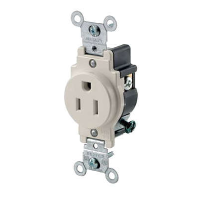 Leviton 5015-T Double Pole Straight Blade Single Receptacle; Wall Mount, 125 Volt, 15 Amp, Light Almond