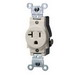 Leviton 5801-T Double Pole Straight Blade Single Receptacle; Wall Mount, 125 Volt, 20 Amp, Light Almond