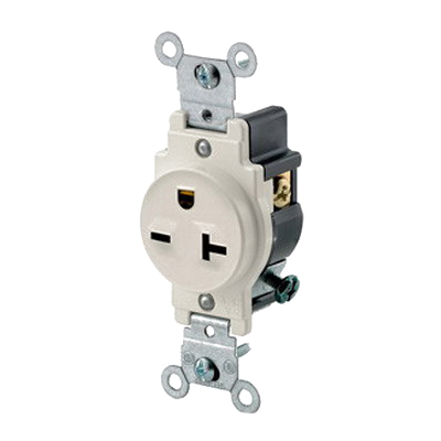 Leviton 5821-T Double Pole Straight Blade Single Receptacle; Wall Mount, 250 Volt, 20 Amp, Light Almond
