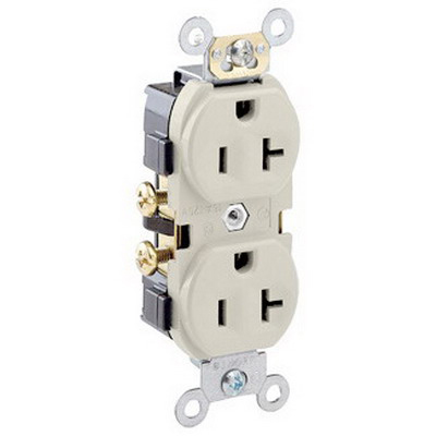 Leviton CR20-T Double Pole Straight Blade Duplex Receptacle; Wall Mount, 125 Volt, 20 Amp, Light Almond