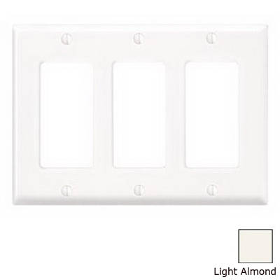 Leviton 80411-NT Decora® 3-Gang Standard-Size GFCI Decorator Wallplate; Device Mount, Thermoplastic Nylon, Light Almond