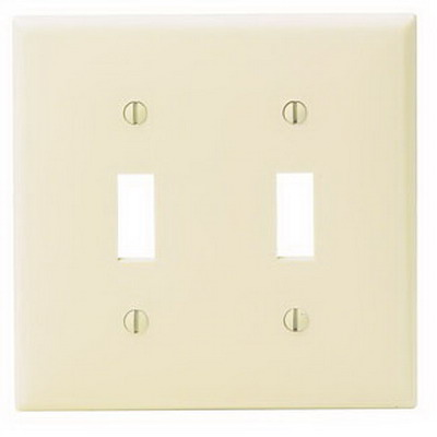 Leviton 80709-T 2-Gang Standard-Size Toggle Switch Wallplate; Device Mount, Thermoplastic Nylon, Light Almond