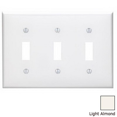 Leviton 80711-T 3-Gang Standard-Size Toggle Switch Wallplate; Device Mount, Thermoplastic Nylon, Light Almond
