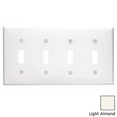Leviton 80712-T 4-Gang Standard-Size Toggle Switch Wallplate; Device Mount, Thermoplastic Nylon, Light Almond