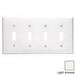 Leviton 80712-T 4-Gang Standard-Size Toggle Switch Wallplate; Device Mount, Thermoplastic Nylon, Light Almond