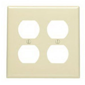 Leviton 80716-T 2-Gang Standard-Size Duplex Receptacle Wallplate; Device Mount, Thermoplastic Nylon, Light Almond