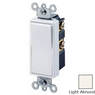 Leviton 5614-2T Decora® Illuminated Off AC Quiet 4-Way Lighted Handle Switch; 2-Pole, 120/277 Volt AC, 15 Amp, Light Almond