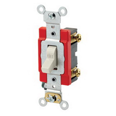 Leviton 1221-2T Extra Heavy Duty Specification Grade AC Quiet Toggle Switch; SPST, 120/277 Volt AC, 20 Amp, Light Almond