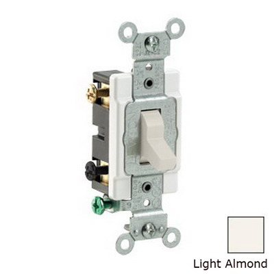 Leviton CS220-2T Heavy Duty Specification Grade AC Quiet Toggle Switch; 2-Pole, 120/277 Volt AC, 20 Amp, Light Almond