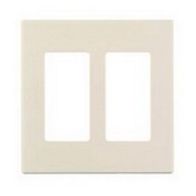Leviton 80309-ST Decora Plus™ Decora® 2-Gang Standard-Size Screwless GFCI Decorator Wallplate; Snap-On Mount, Polycarbonate, Light Almond