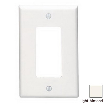 Leviton 80601-T Decora® 1-Gang Midway-Size GFCI Decorator Wallplate; Device Mount, Thermoset Plastic, Light Almond