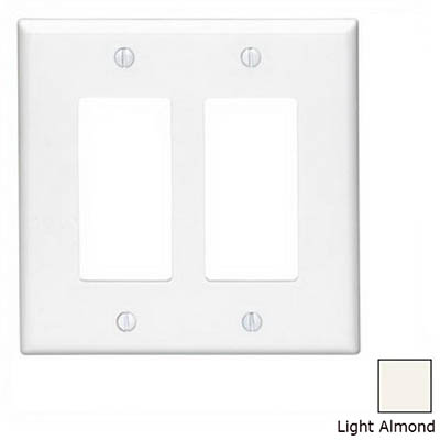 Leviton 80609-T Decora® 2-Gang Midway-Size GFCI Decorator Wallplate; Device Mount, Thermoset Plastic, Light Almond