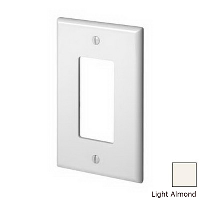 Leviton PJ26-T Decora® 1-Gang Midway-Size GFCI Decorator Wallplate; Device Mount, Thermoplastic Nylon, Light Almond