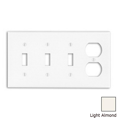 Leviton P38-T 4-Gang Standard-Size Combination Wallplate; Device Mount, Thermoset Plastic, Light Almond