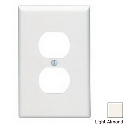 Leviton 80503-T 1-Gang Midway-Size Duplex Receptacle Wallplate; Device Mount, Thermoset Plastic, Light Almond