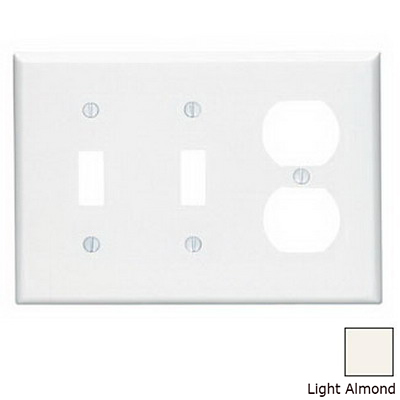 Leviton 80521-T 3-Gang Midway-Size Combination Wallplate; Device Mount, Thermoset Plastic, Light Almond