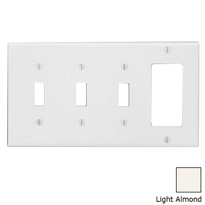Leviton P326-T Decora® 4-Gang Standard-Size Combination Wallplate; Device Mount, Thermoset Plastic, Light Almond