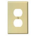 Leviton PJ8-T 1-Gang Midway-Size Duplex Receptacle Wallplate; Device Mount, Thermoplastic Nylon, Light Almond