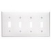 Leviton 80712-W 4-Gang Standard-Size Toggle Switch Wallplate; Device Mount, Thermoplastic Nylon, White