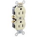 Leviton CR15-T Double Pole Straight Blade Duplex Receptacle; Wall Mount, 125 Volt, 15 Amp, Light Almond