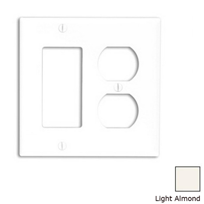 Leviton 80746-T Decora® 2-Gang Standard-Size Combination Wallplate; Device Mount, Thermoplastic Nylon, Light Almond