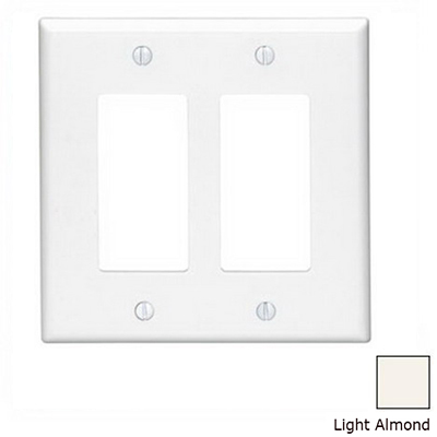 Leviton PJ262-T Decora® 2-Gang Midway-Size GFCI Decorator Wallplate; Device Mount, Thermoplastic Nylon, Light Almond