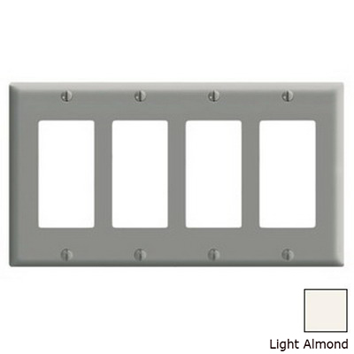 Leviton PJ264-T Decora® 4-Gang Midway-Size GFCI Decorator Wallplate; Device Mount, Thermoplastic Nylon, Light Almond