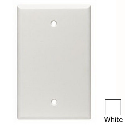 Leviton 80514-W 1-Gang Midway-Size No Device Blank Wallplate; Box Mount, Thermoset Plastic, White