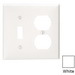 Leviton 80705-W 2-Gang Standard-Size Combination Wallplate; Device Mount, Thermoplastic Nylon, White