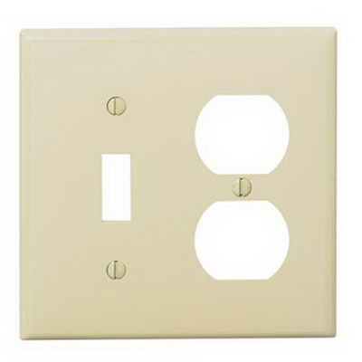 Leviton PJ18-T 2-Gang Midway-Size Combination Wallplate; Device Mount, Thermoplastic Nylon, Light Almond