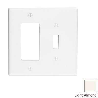 Leviton PJ126-T Decora® 2-Gang Midway-Size Combination Wallplate; Device Mount, Thermoplastic Nylon, Light Almond