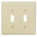 Leviton PJ2-T 2-Gang Midway-Size Toggle Switch Wallplate; Device Mount, Thermoplastic Nylon, Light Almond