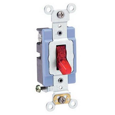 Leviton 1201-PLR Extra Heavy Duty Grade Illuminated On AC Quiet Pilot Light Toggle Switch; 1-Pole, 120 Volt AC, 15 Amp, Red